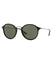 Black & green round sunglasses