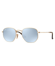 Gold-tone & grey mirror sunglasses
