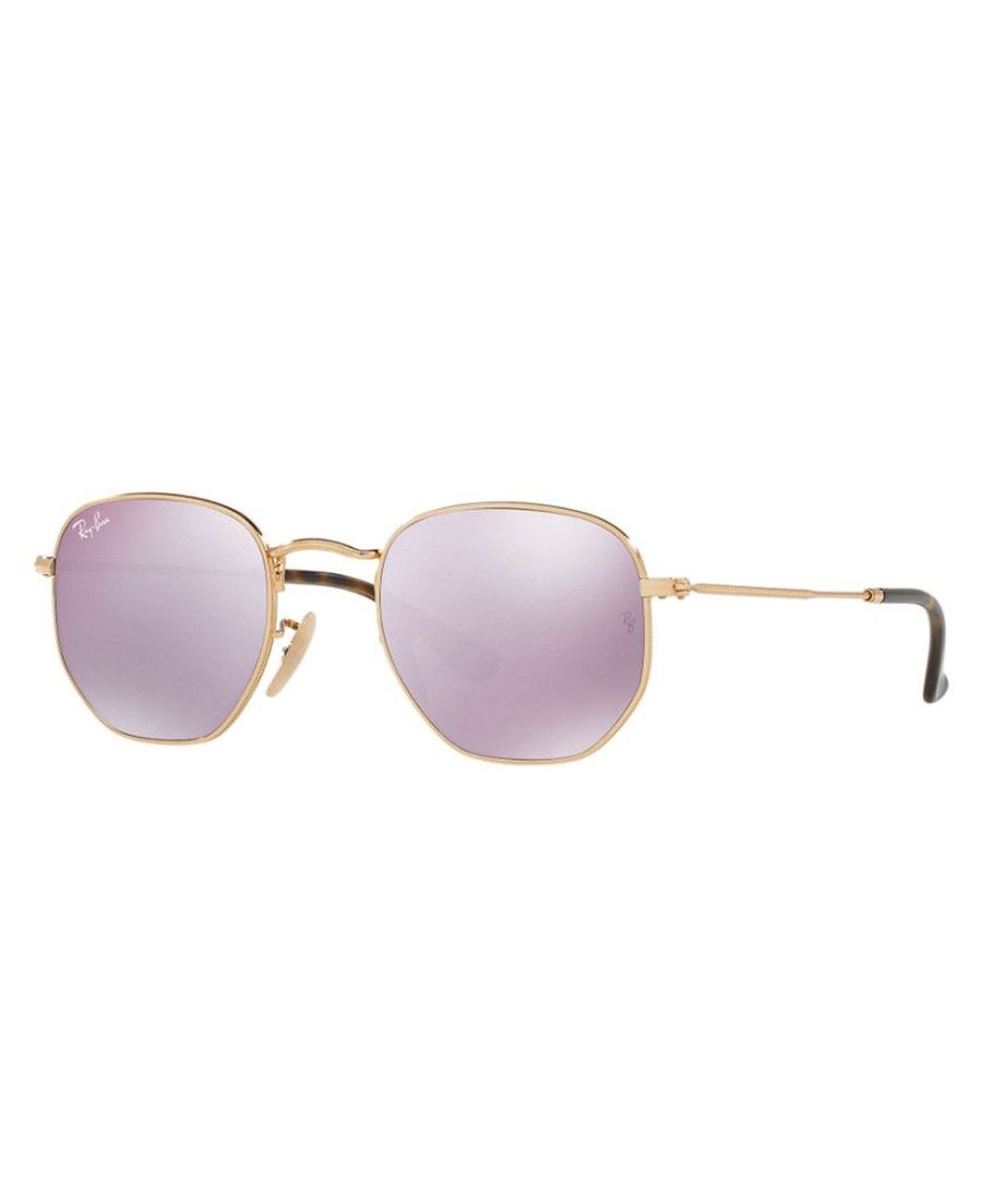 Gold-tone & violet mirror sunglasses Sale - ray-ban