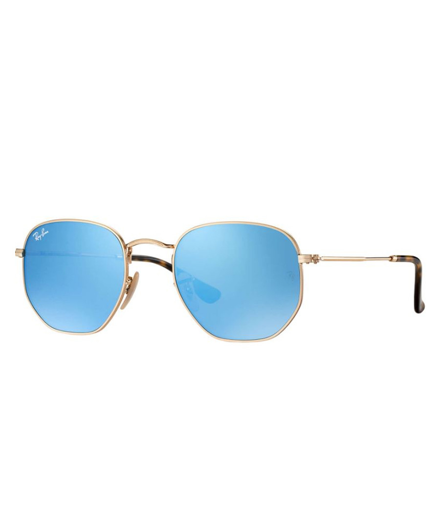 Gold-tone & blue mirror sunglasses Sale - ray-ban