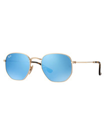 Gold-tone & blue mirror sunglasses
