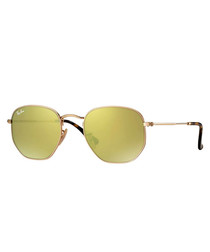Gold-tone flash mirror sunglasses