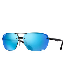 Black & blue mirror sunglasses