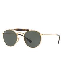 Gold-tone & green aviator sunglasses