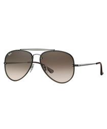 Brown & gunmetal gradient sunglasses