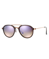 bronze-tone lilac gradient sunglasses