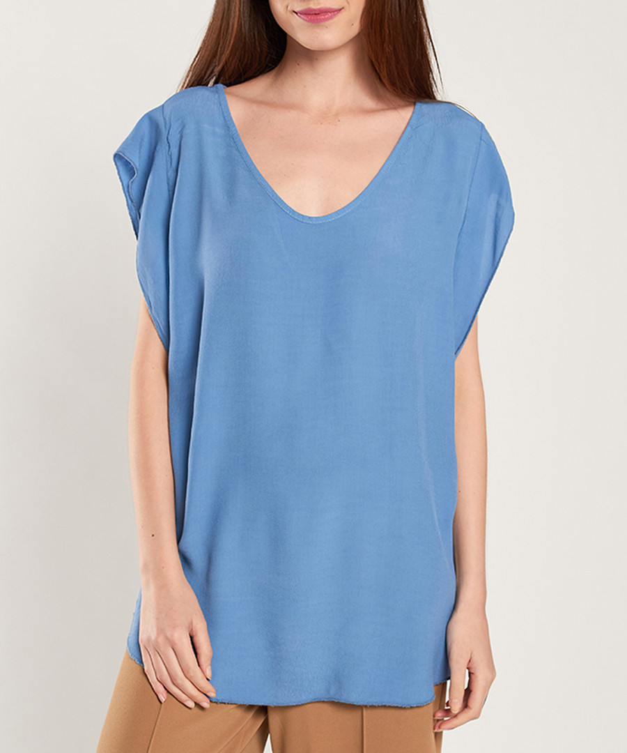 Blue scoop neck loose top Sale - dioxide