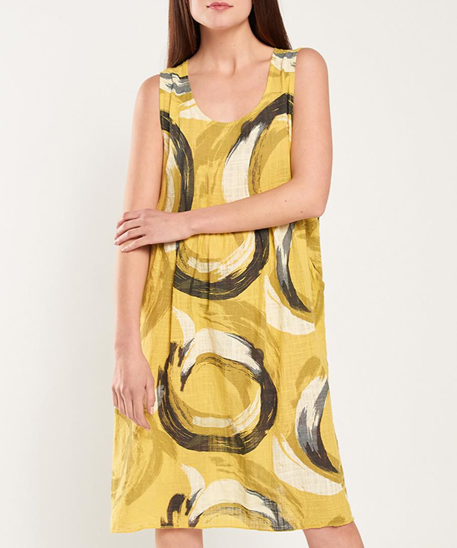 Yellow brush mark printed loose dress Sale - dioxide