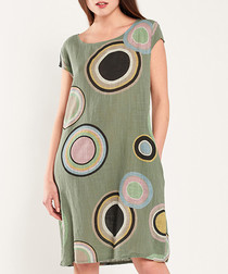Khaki pure cotton printed dress