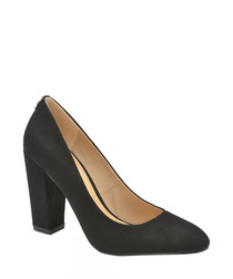 Roxton black block heeled court shoes