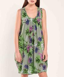 Khaki nature print loose dress