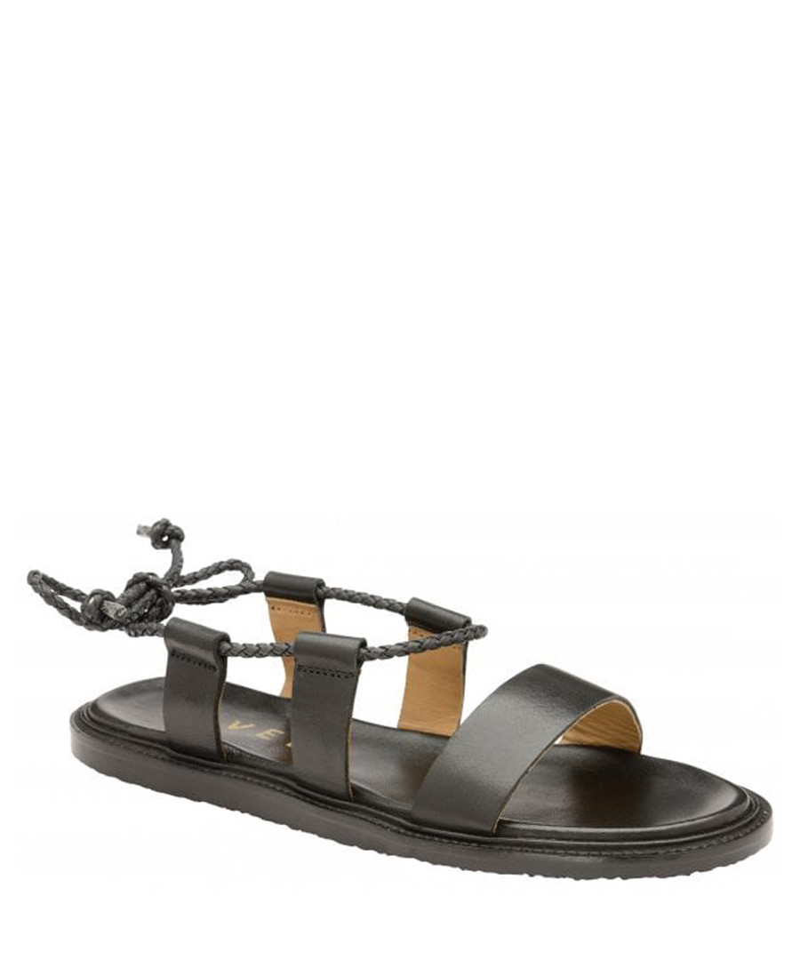Elma black leather flat sandals Sale - ravel