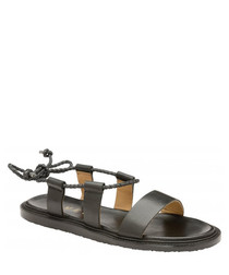 Elma black leather flat sandals