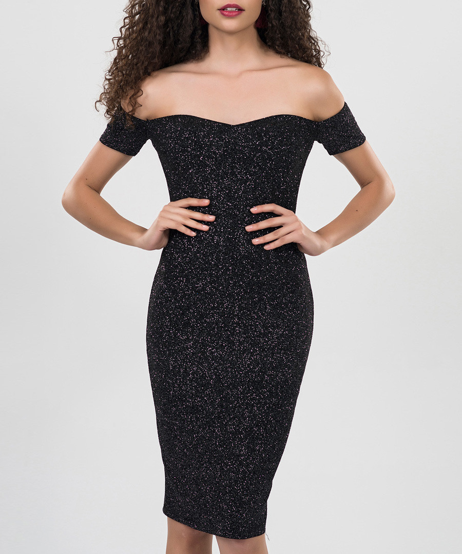 Grey off-the-shoulder dress Sale - zibi london