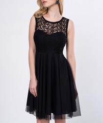 Black lace panel dress
