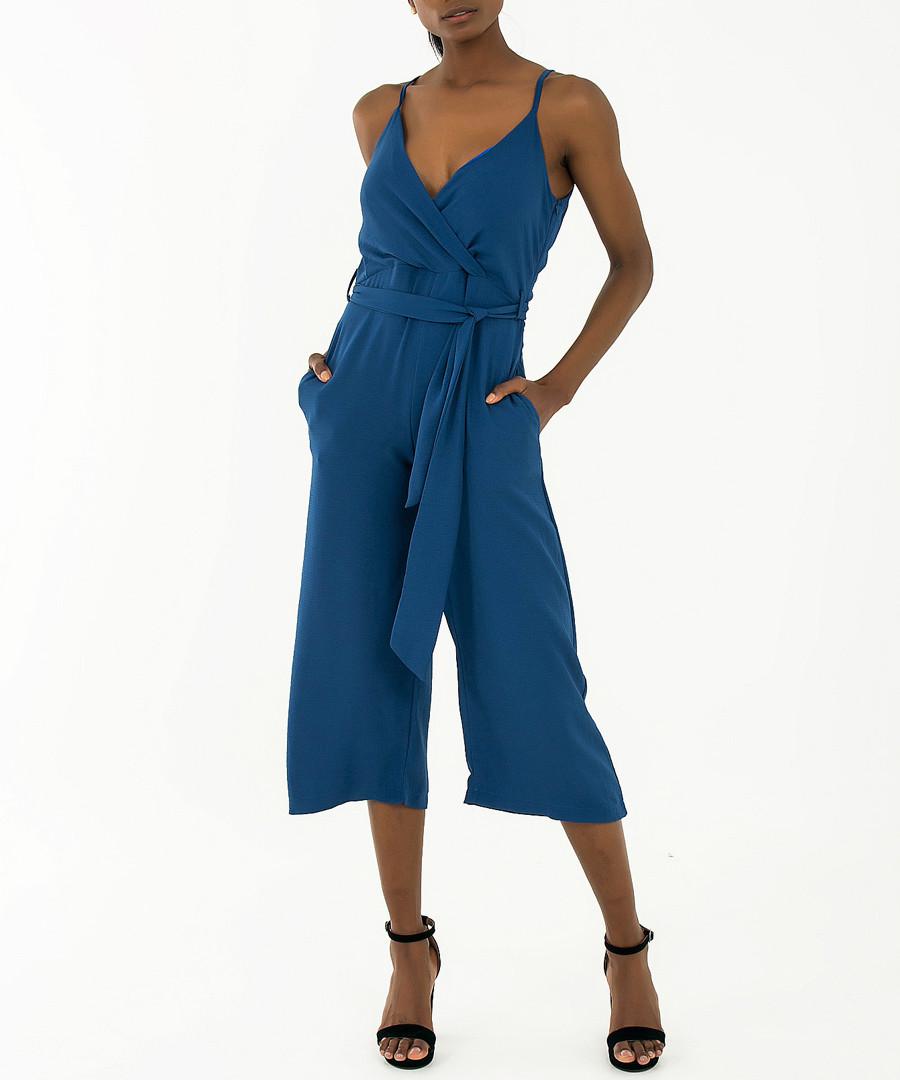 Blue tie-waist crop jumpsuit Sale - zibi london