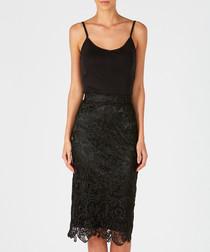 Black high-waist lace skirt