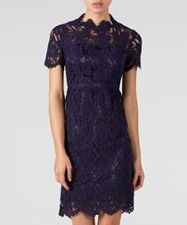 Navy lace high-neck dress