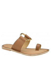 Franklin tan leather flat sandals