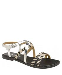 Manatee black zebra leather flat sandals