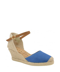 Etna blue leather wedge sandals