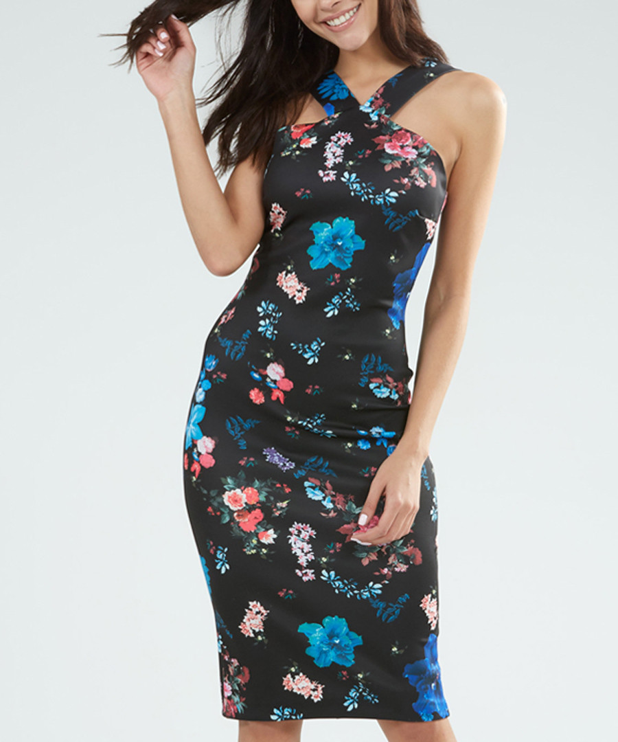 Black & multi-colour floral dress Sale - zibi london