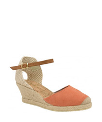 Etna coral leather wedge sandals