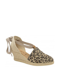 Antora leopard suede wedge sandals