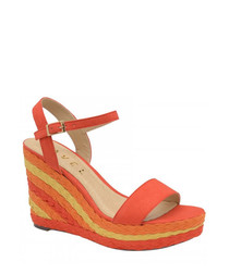 Dixie red wedge open-toe sandals