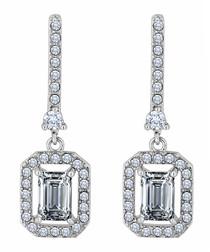 Baguette 14k white gold-plated earrings