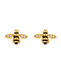 Bee 14k gold-plated earrings
