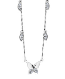 Butterfly 14k white gold-plated necklace
