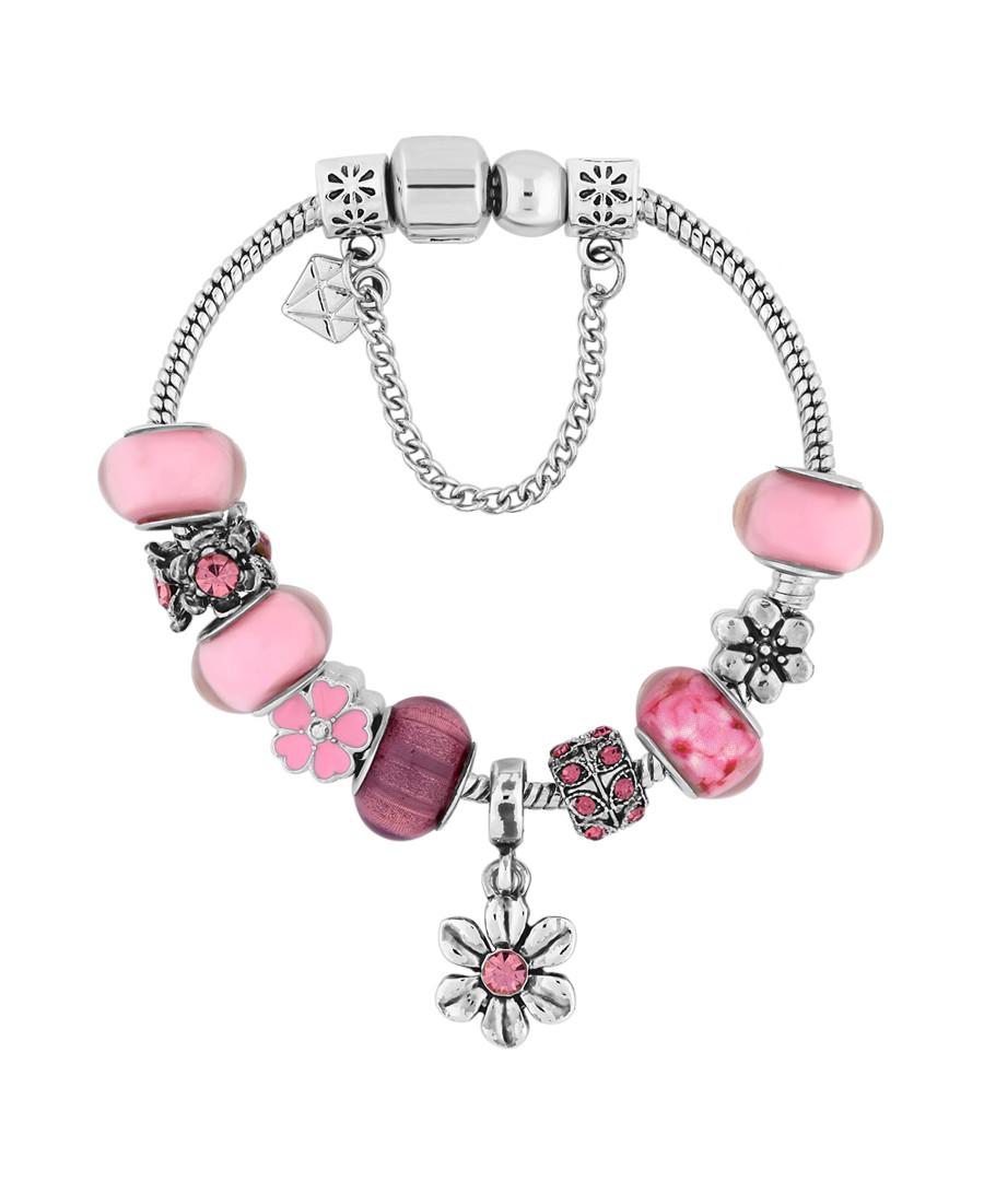 Charm 14k white gold-plate pink bangle Sale - diamond style