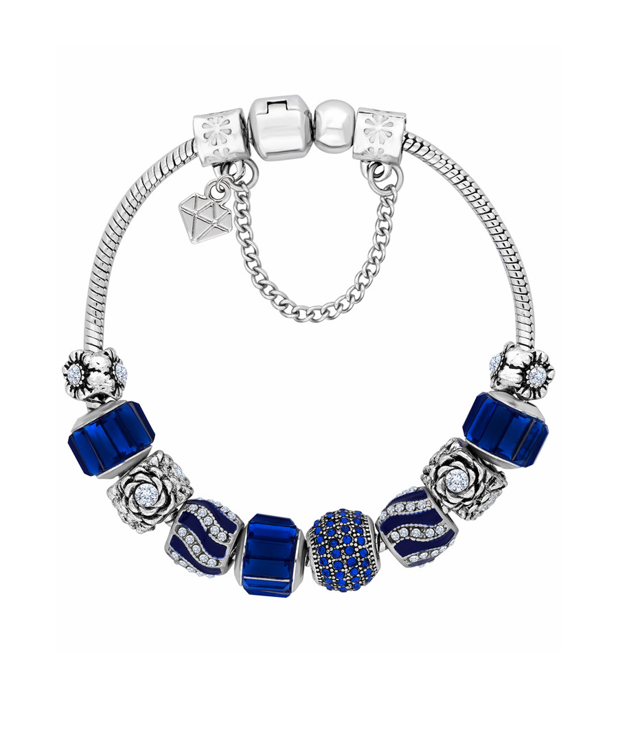 Charm 14k white gold-plated blue bangle Sale - diamond style