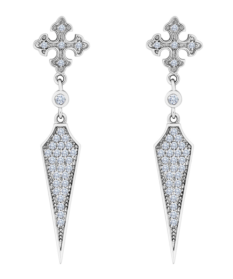 Drop 14k white gold-plated earrings Sale - diamond style