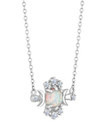 Opal white gold & rhodium-plated pendant