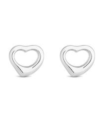 Open heart white gold-plated earrings