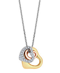 14k Mixed-plating 3 hearts necklace