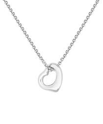 Open heart 14k white gold-plated pendant