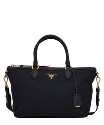 Tessuto black leather trim bag