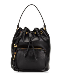 Glace black leather bucket bag