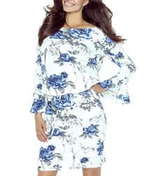 Ecru & blue print dress