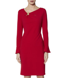 Nelly red bell sleeve dress