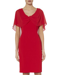 Arwena lipstick red chiffon sleeve dress