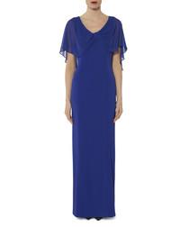 Tayla sapphire chiffon sleeve maxi dress