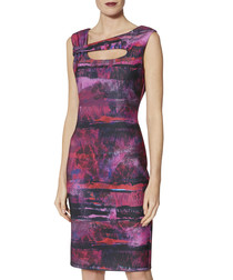 Mischa abstract stripe cut-out dress
