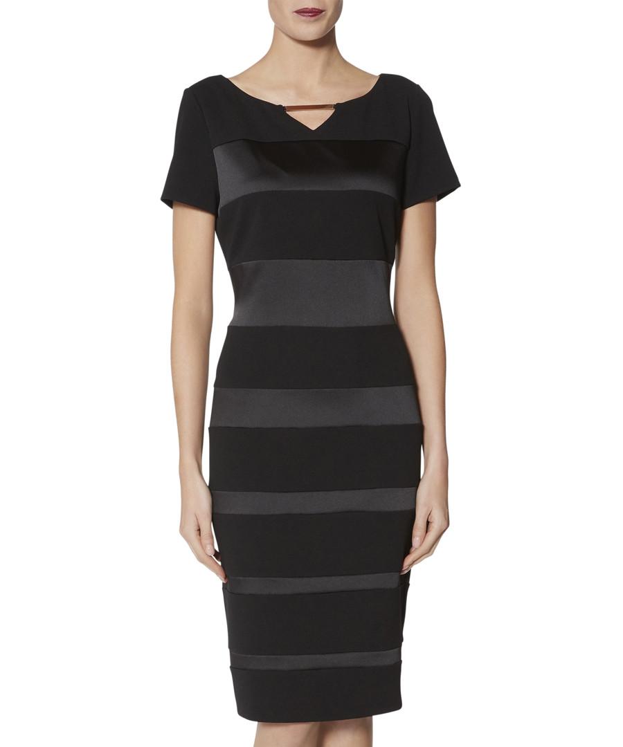 Daiva black satin panel dress Sale - gina bacconi