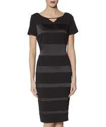 Daiva black satin panel dress