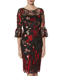 Marcella red abstract embroidered dress