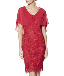 Elwyn rose red embroidered cape dress